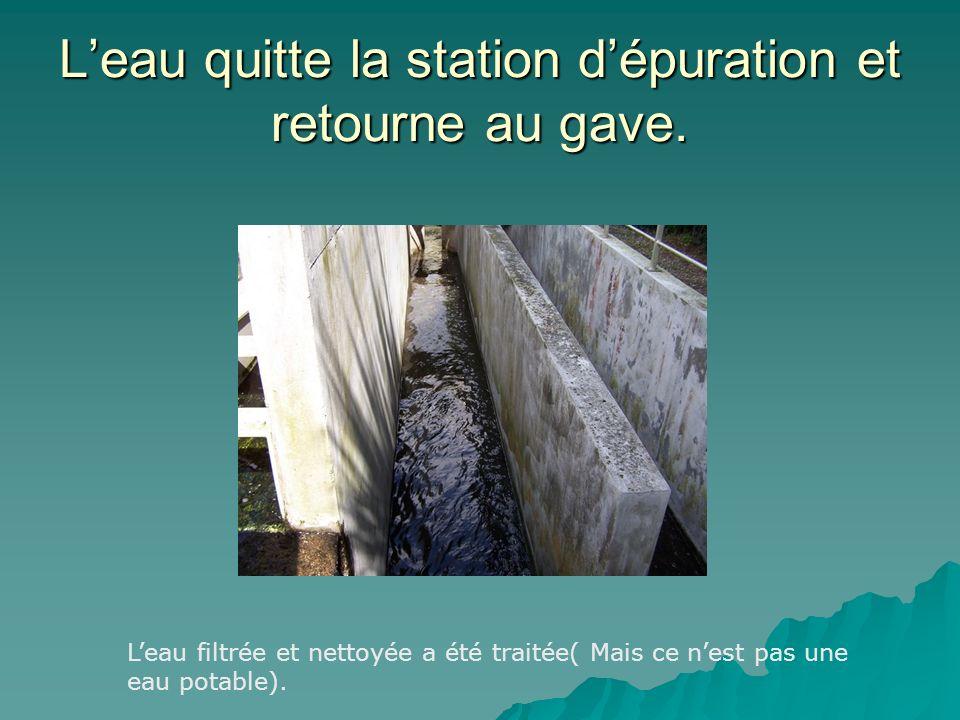 L'eau quitte la station d'épuration et retourne au gave.