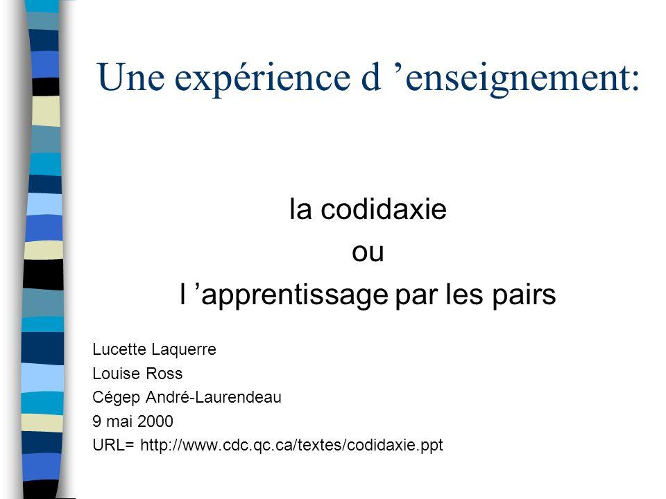 Une expérience d 'enseignement: