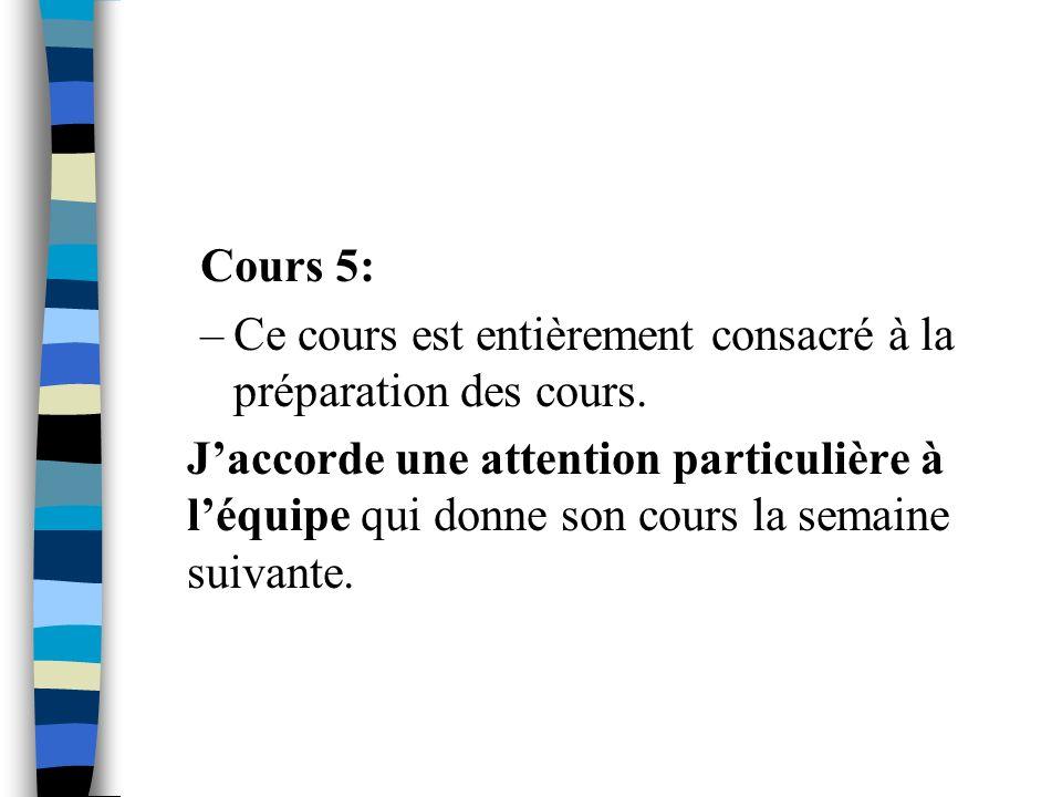 Cours 5: Ce cours est entièrement consacré à la préparation des cours.