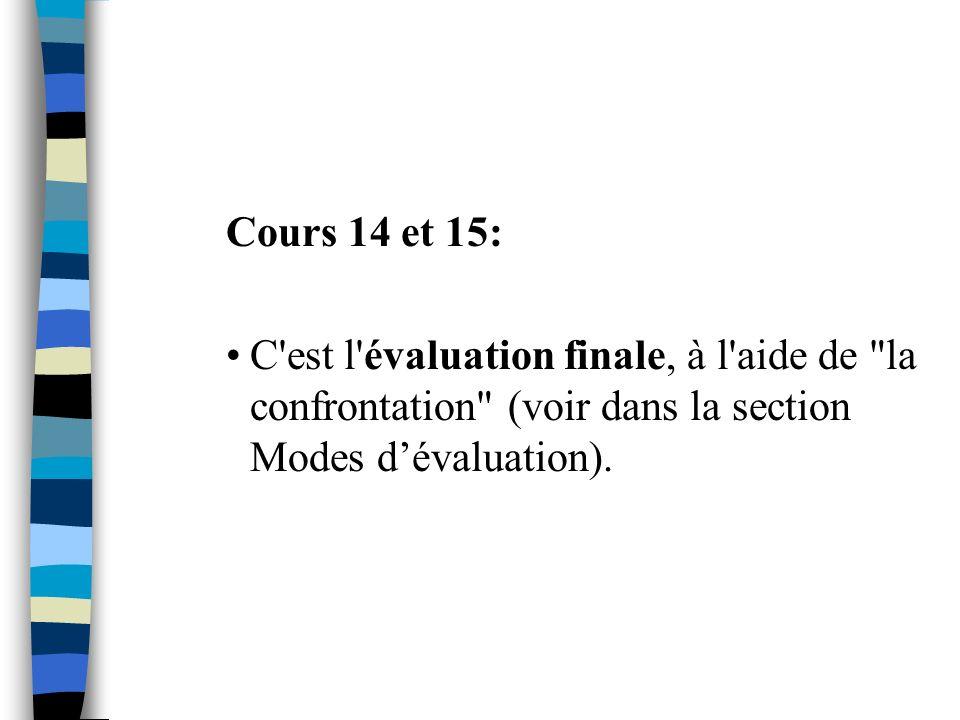Cours 14 et 15: C est l évaluation finale, à l aide de la confrontation (voir dans la section Modes d'évaluation).