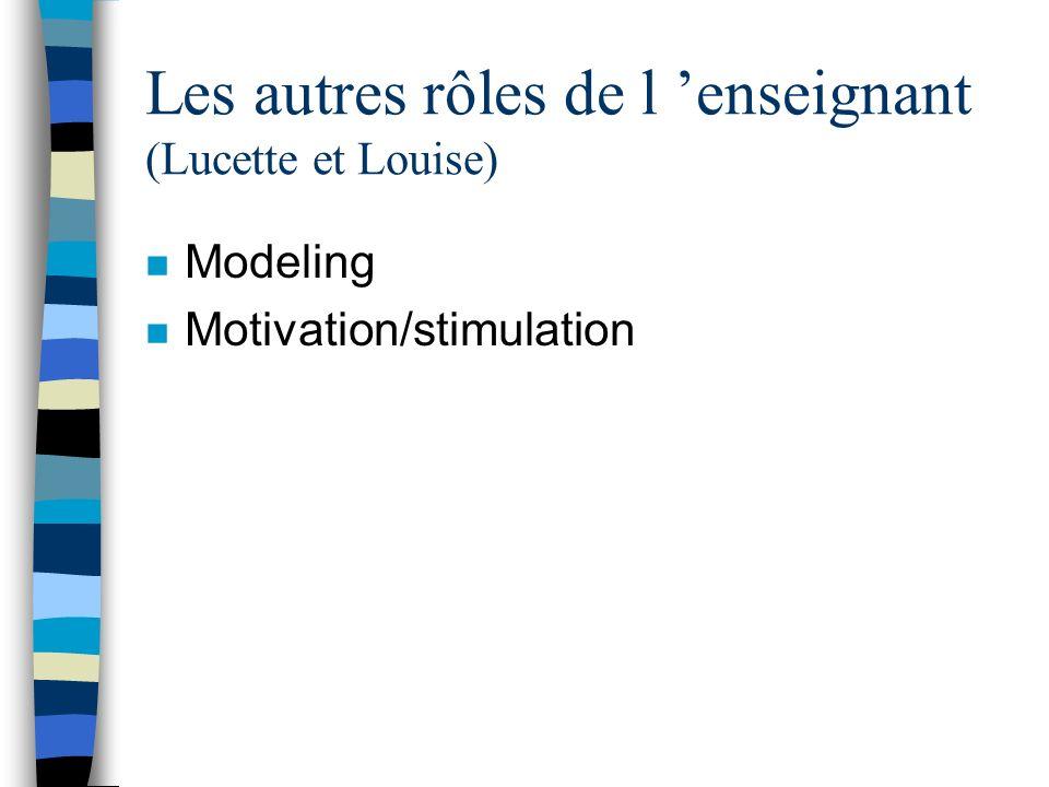 Les autres rôles de l 'enseignant (Lucette et Louise)
