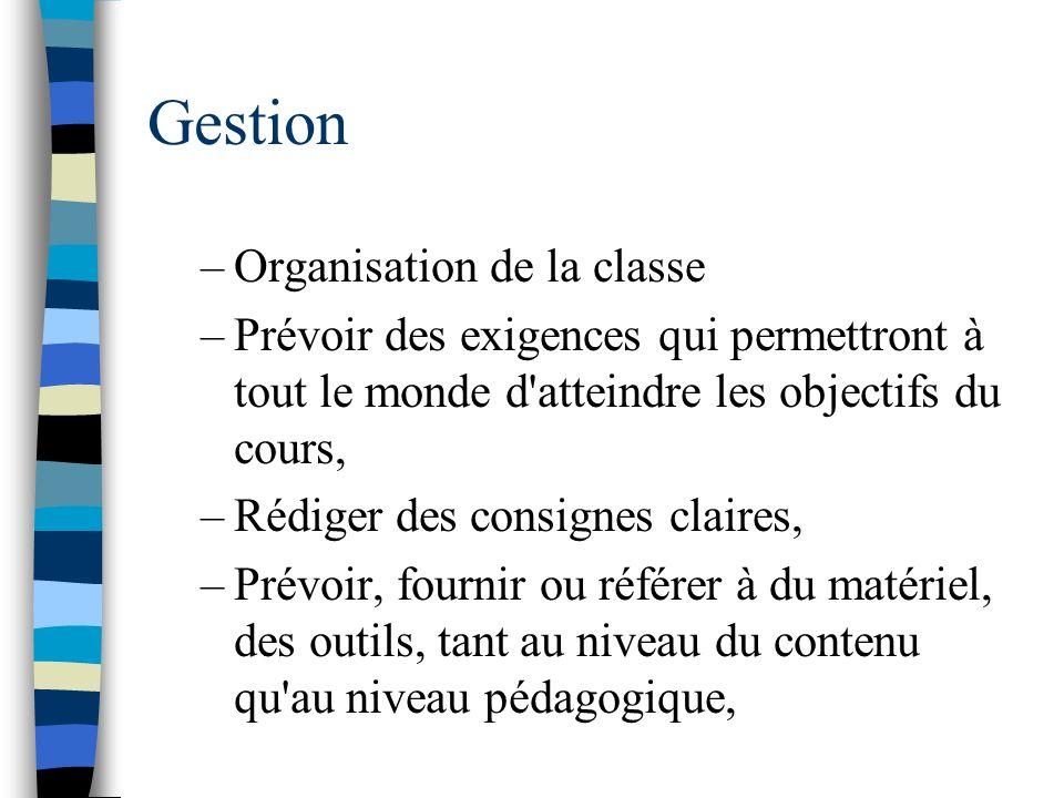 Gestion Organisation de la classe