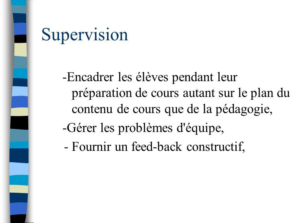 Supervision -Encadrer les élèves pendant leur préparation de cours autant sur le plan du contenu de cours que de la pédagogie,