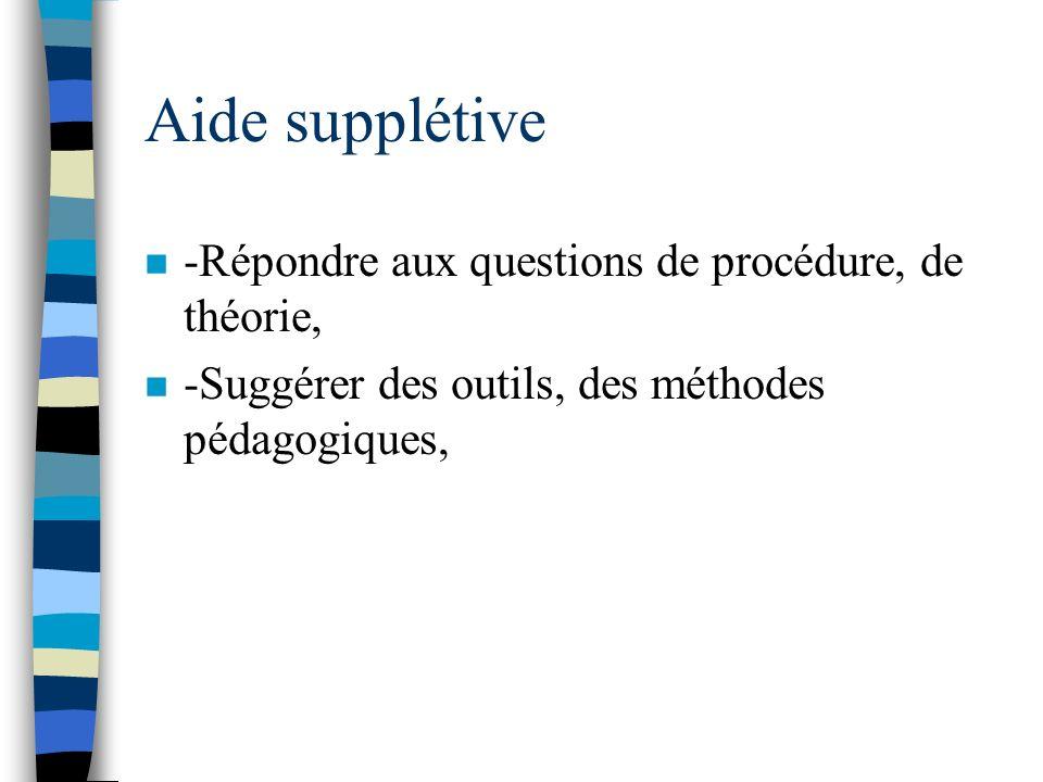 Aide supplétive -Répondre aux questions de procédure, de théorie,
