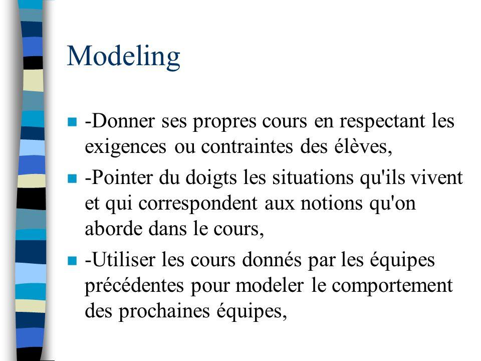 Modeling -Donner ses propres cours en respectant les exigences ou contraintes des élèves,