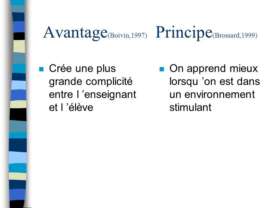 Avantage(Boivin,1997) Principe(Brossard,1999)