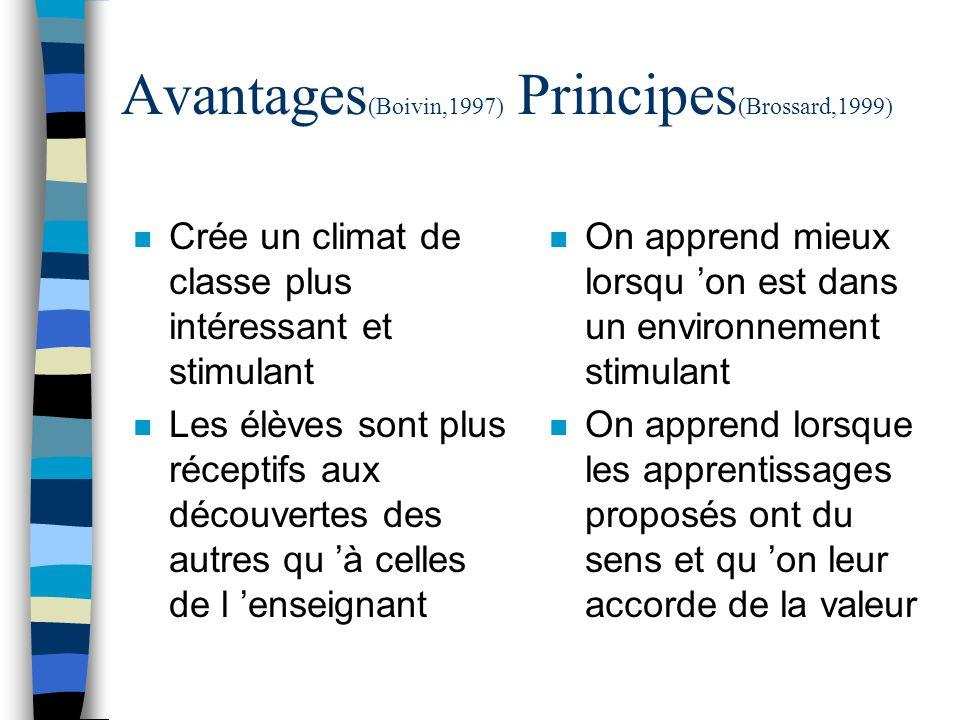 Avantages(Boivin,1997) Principes(Brossard,1999)