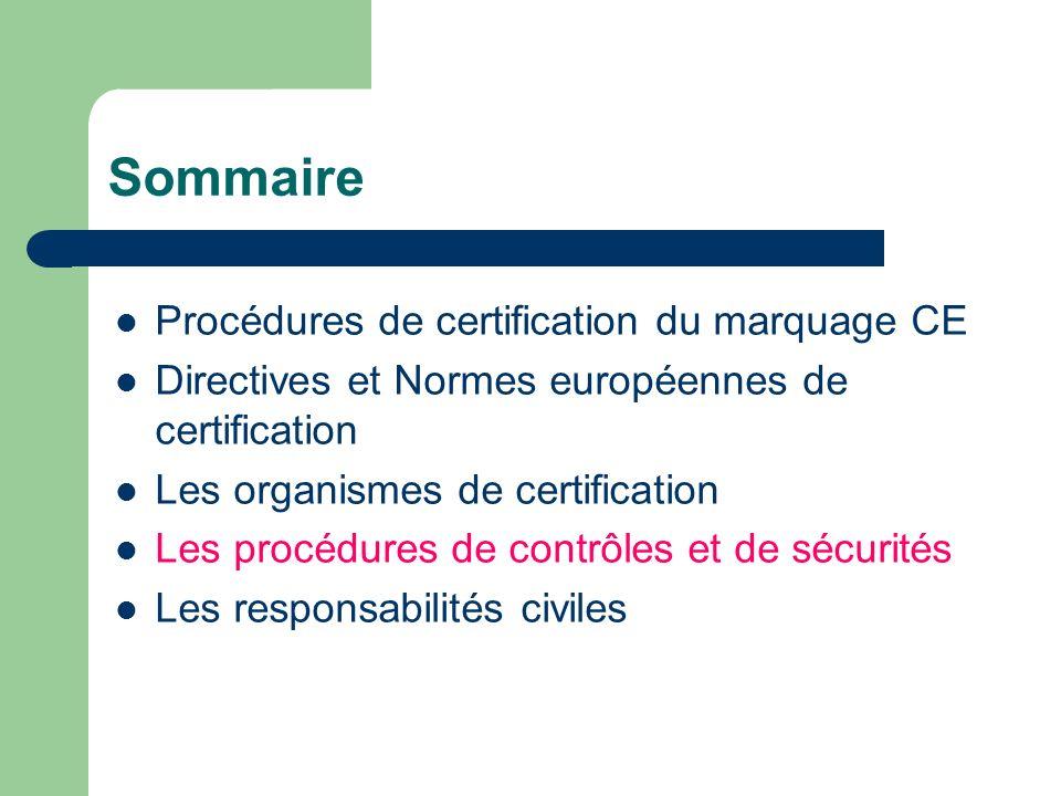 Sommaire Procédures de certification du marquage CE