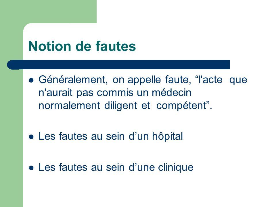 Notion de fautes Généralement, on appelle faute, l acte que n aurait pas commis un médecin normalement diligent et compétent .