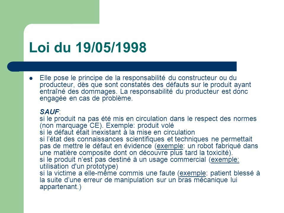 Loi du 19/05/1998