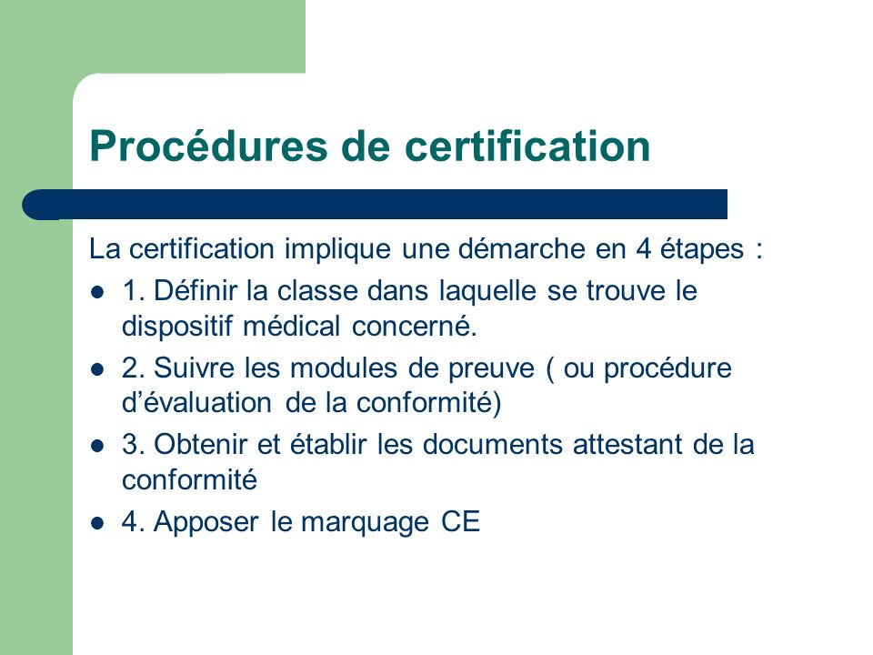 Procédures de certification