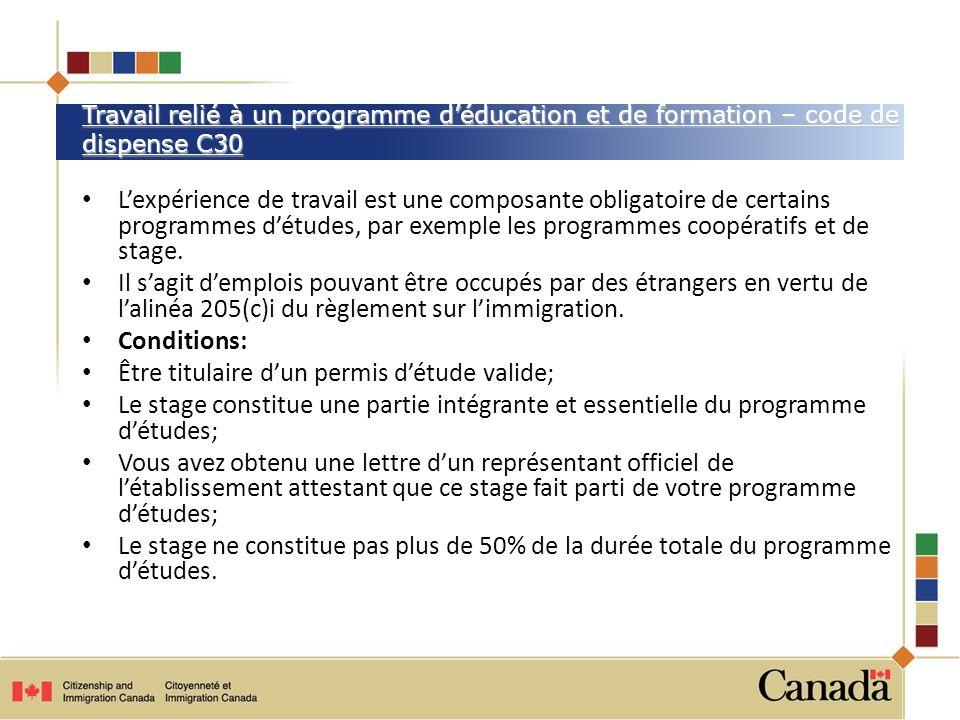 Être titulaire d'un permis d'étude valide;