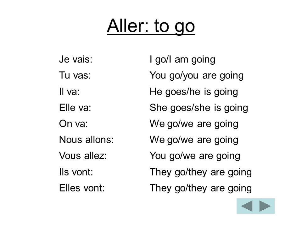 Aller: to go Je vais: I go/I am going Tu vas: You go/you are going
