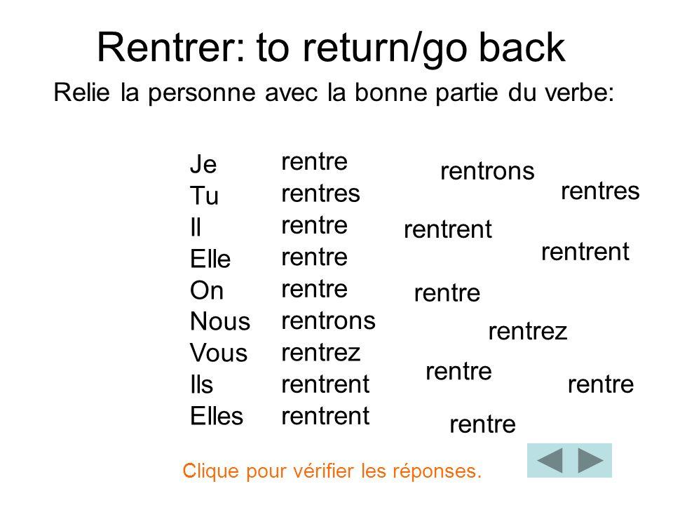 Rentrer: to return/go back