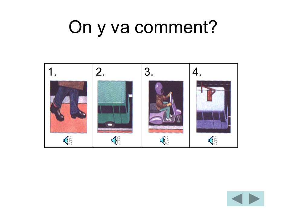 On y va comment 1. 2. 3. 4.