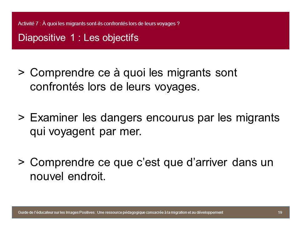Examiner les dangers encourus par les migrants qui voyagent par mer.