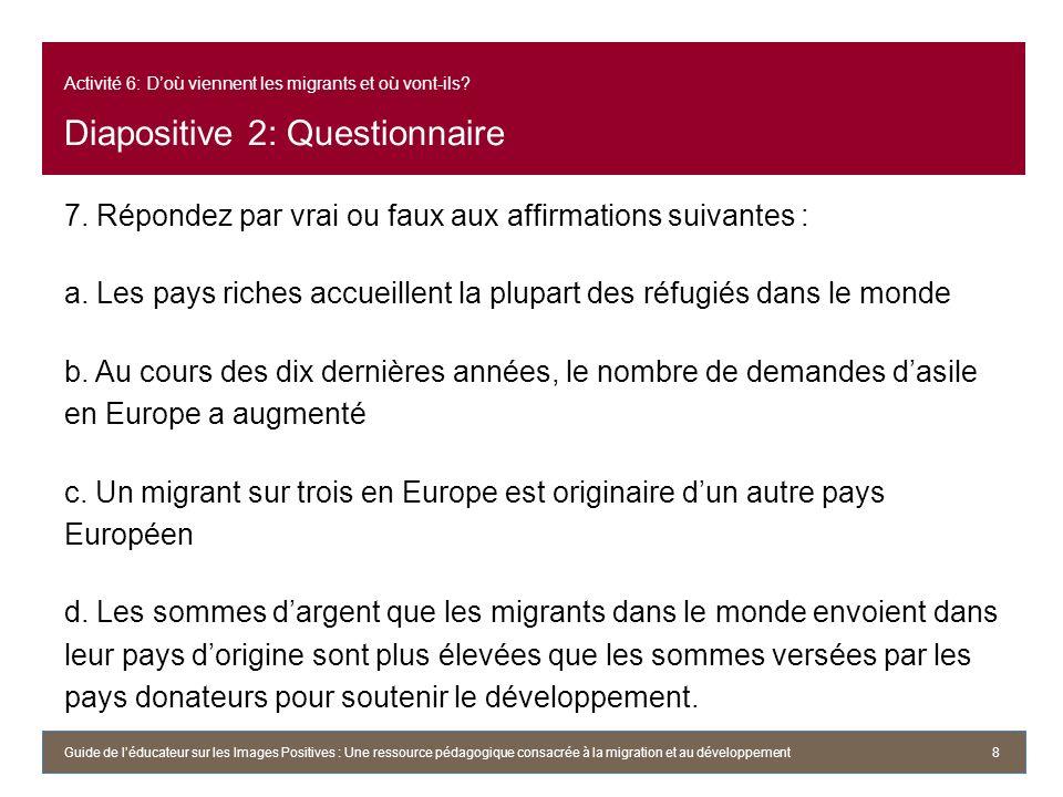 Activité 6: D'où viennent les migrants et où vont-ils