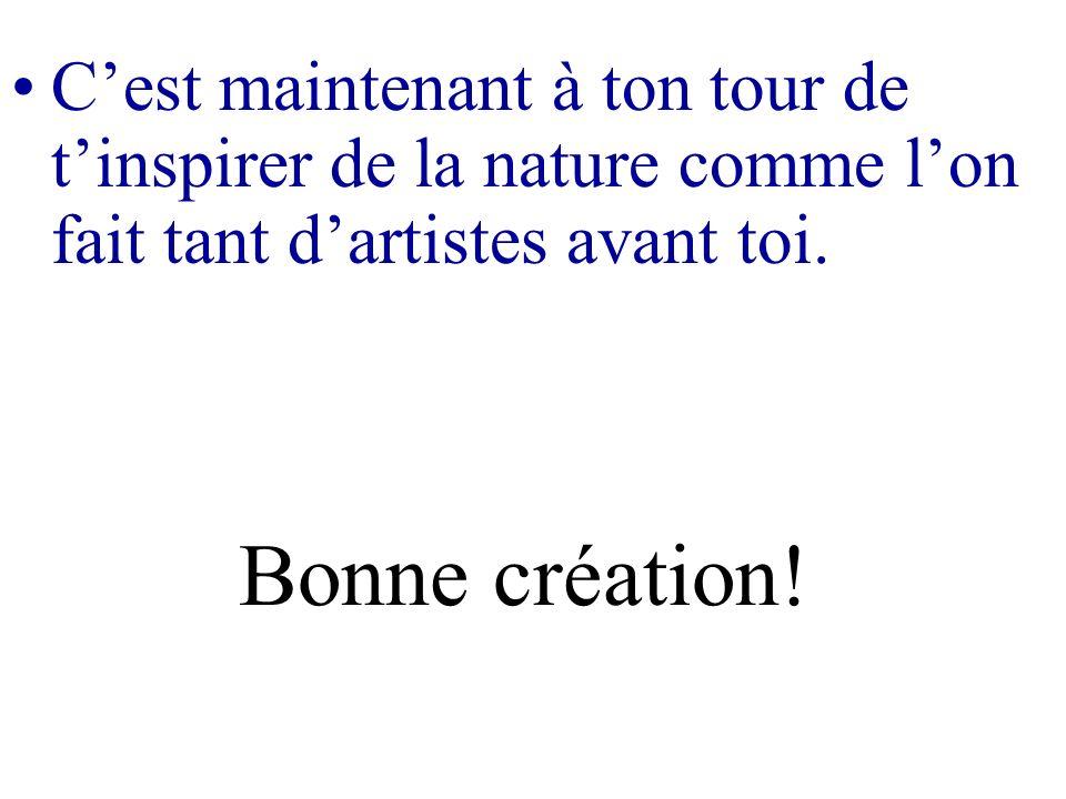 C'est maintenant à ton tour de t'inspirer de la nature comme l'on fait tant d'artistes avant toi.
