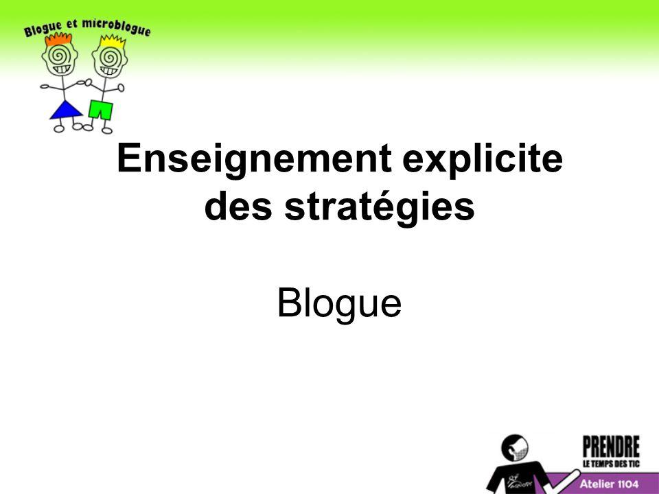 Enseignement explicite des stratégies Blogue