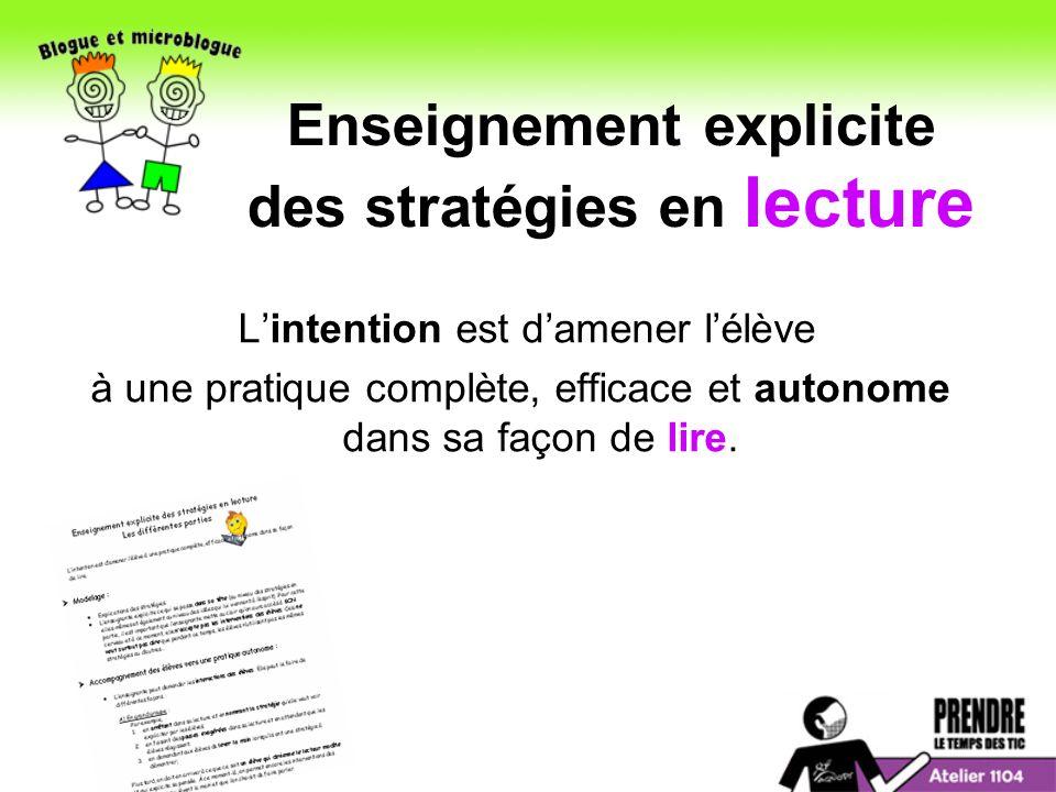 Enseignement explicite des stratégies en lecture