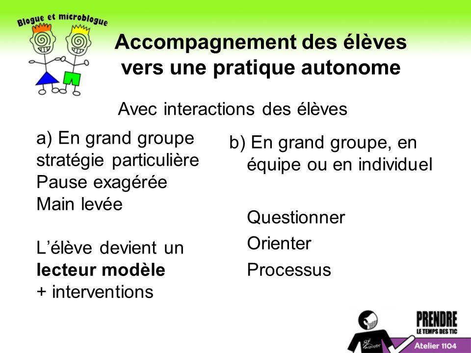 Accompagnement des élèves vers une pratique autonome