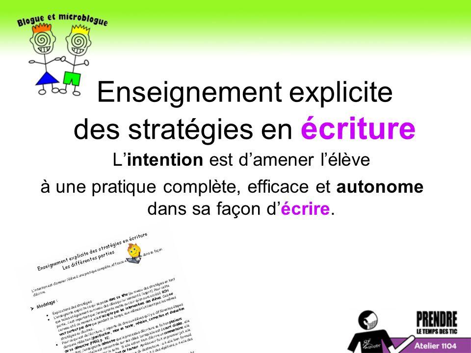 Enseignement explicite des stratégies en écriture