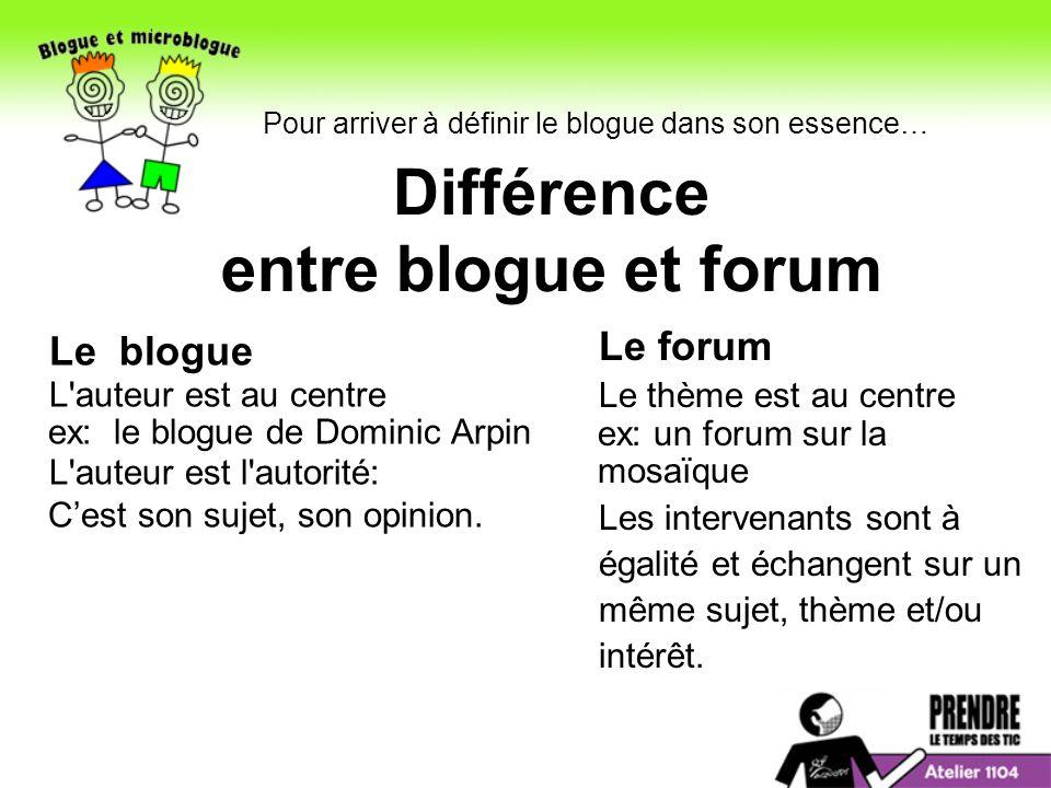 Différence entre blogue et forum