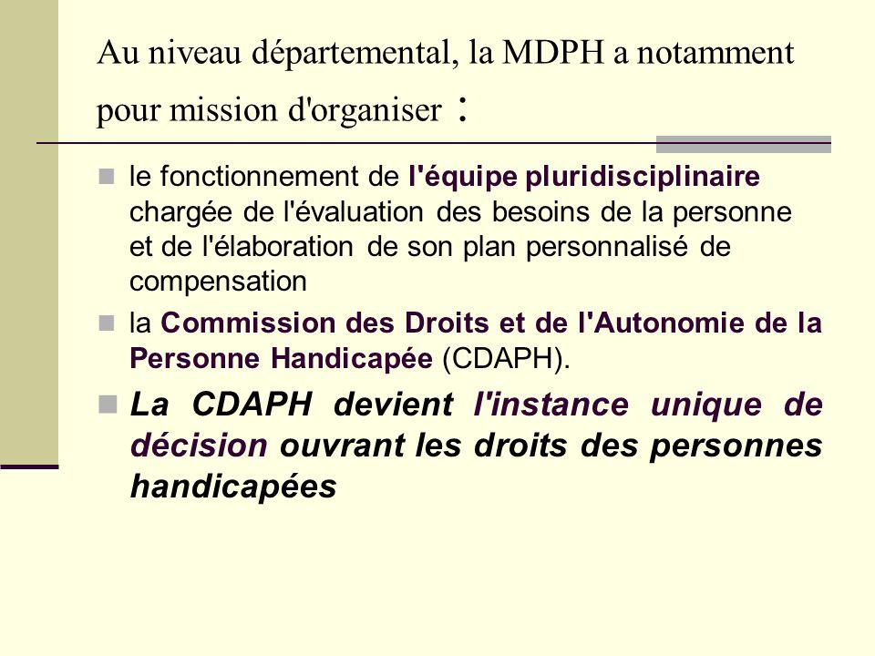 Au niveau départemental, la MDPH a notamment pour mission d organiser :