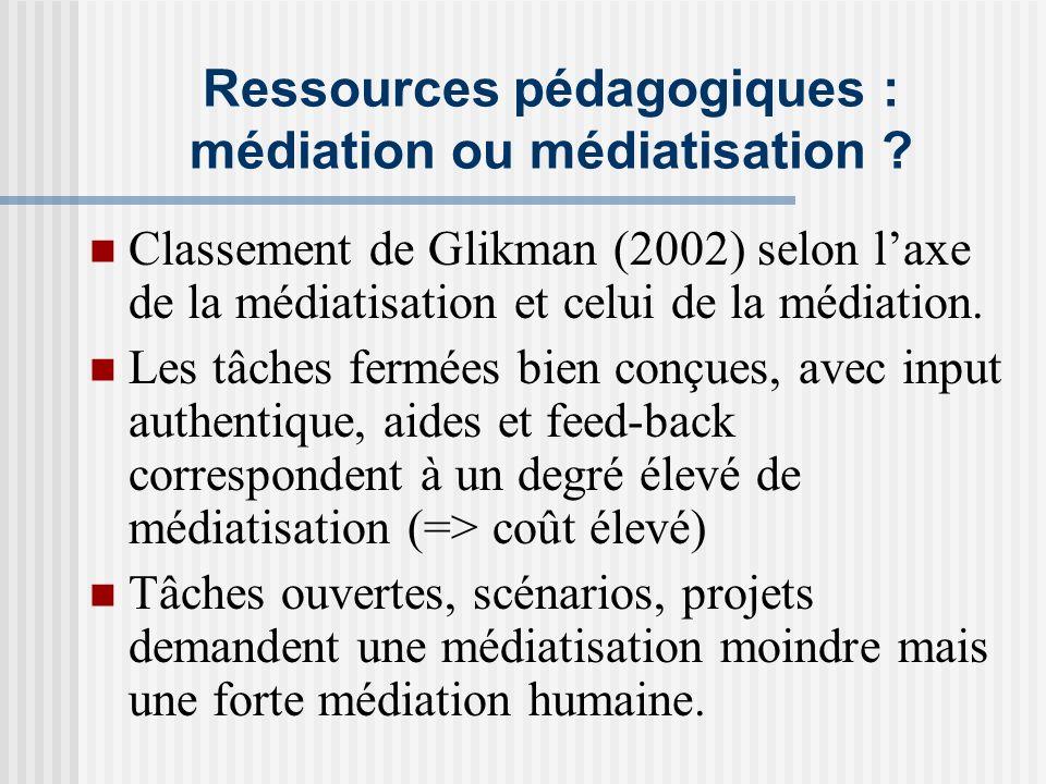 Ressources pédagogiques : médiation ou médiatisation