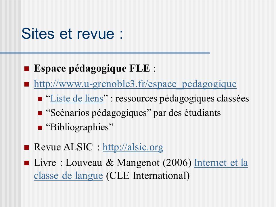Sites et revue : Espace pédagogique FLE :