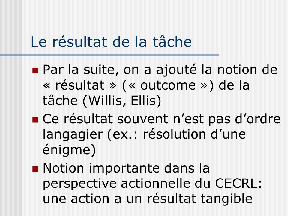 Le résultat de la tâche Par la suite, on a ajouté la notion de « résultat » (« outcome ») de la tâche (Willis, Ellis)