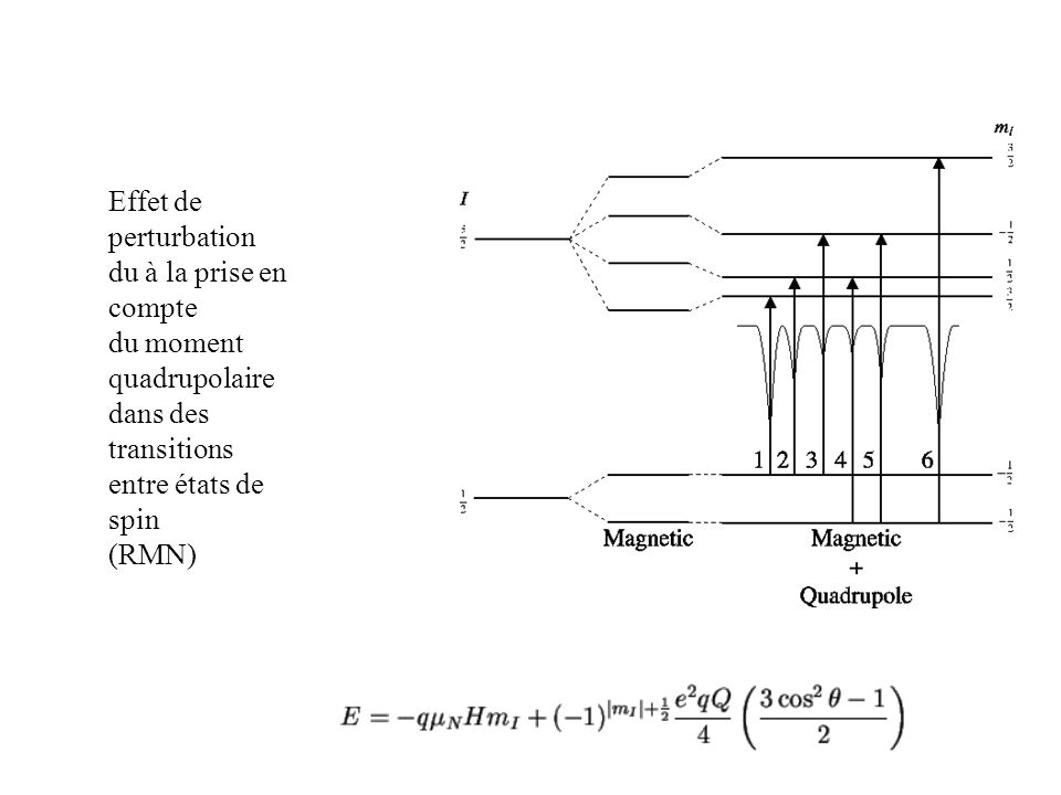 Effet de perturbation du à la prise en compte. du moment quadrupolaire. dans des transitions. entre états de spin.