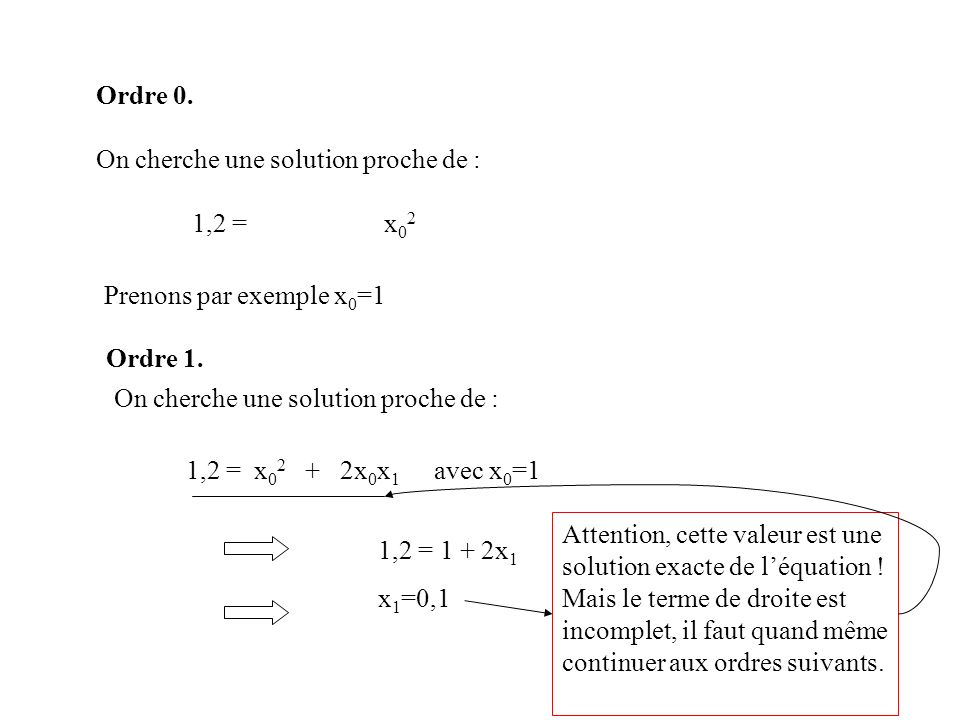 Ordre 0. On cherche une solution proche de : 1,2 = x02. Prenons par exemple x0=1. Ordre 1. On cherche une solution proche de :