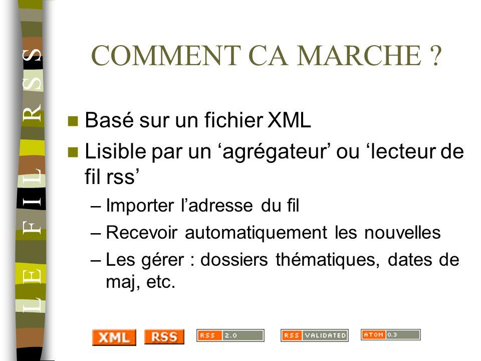 COMMENT CA MARCHE L E F I L R S S Basé sur un fichier XML
