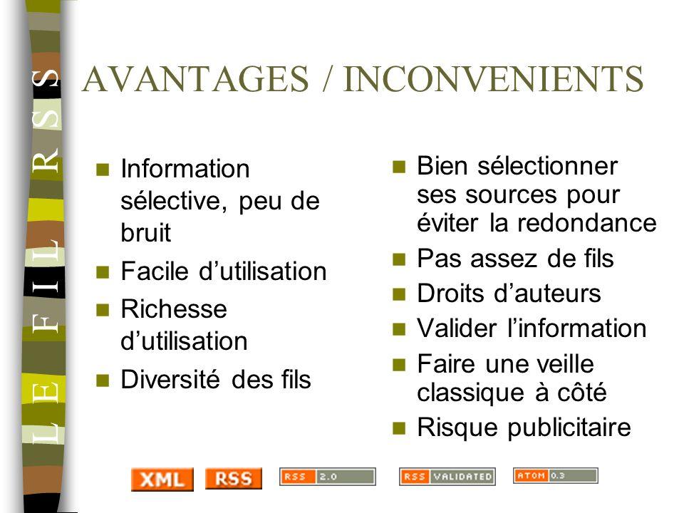 AVANTAGES / INCONVENIENTS