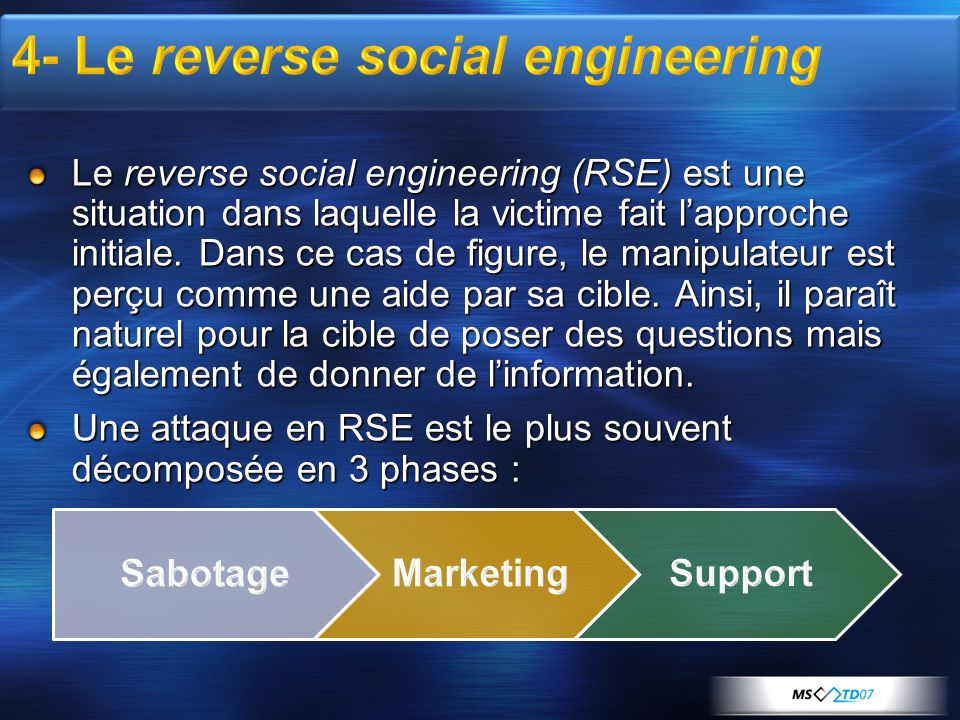 4- Le reverse social engineering