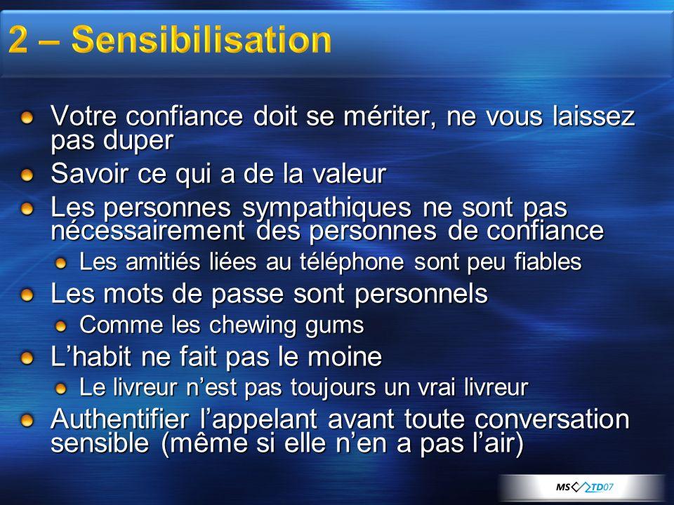 2 – Sensibilisation Votre confiance doit se mériter, ne vous laissez pas duper. Savoir ce qui a de la valeur.