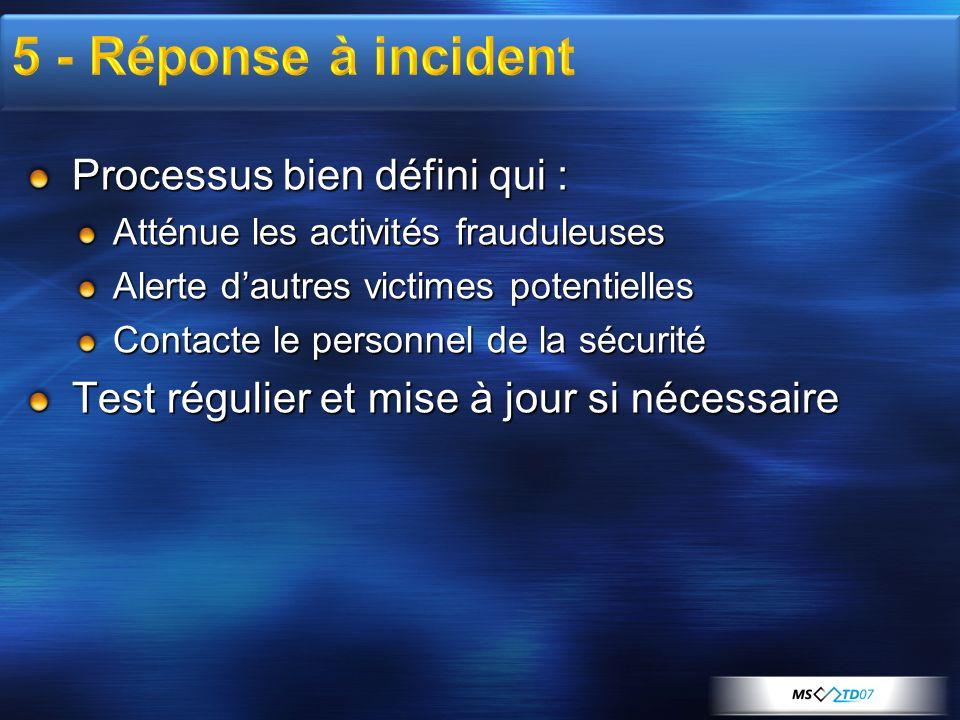 5 - Réponse à incident Processus bien défini qui :