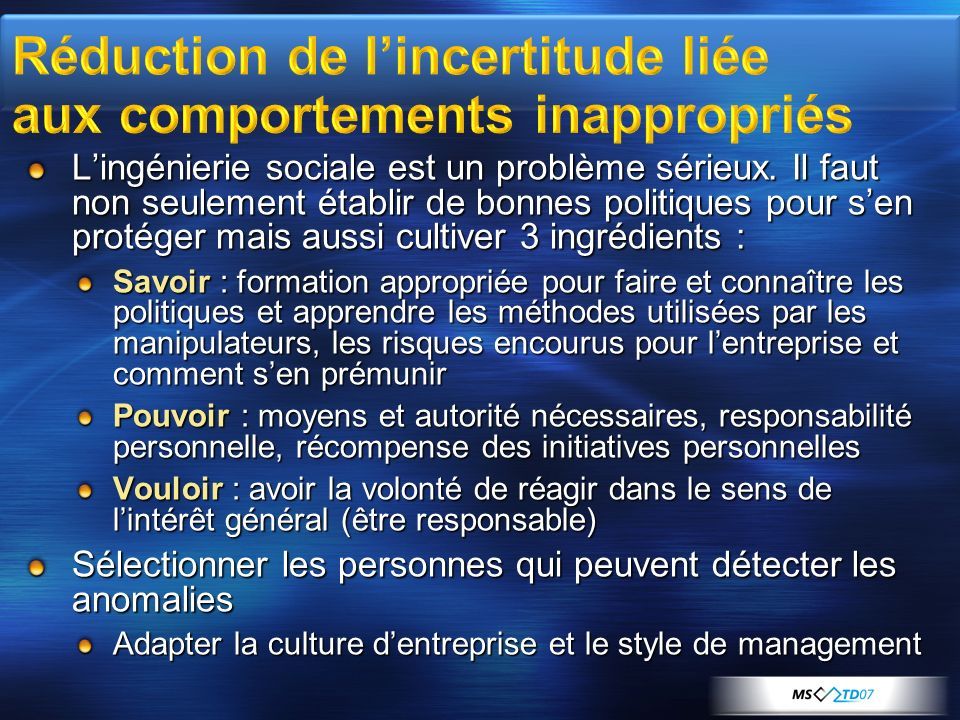 Réduction de l'incertitude liée aux comportements inappropriés