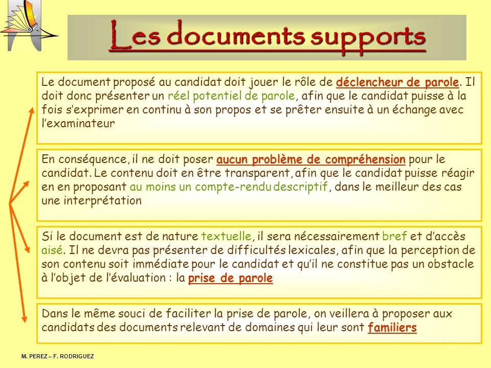 Les documents supports