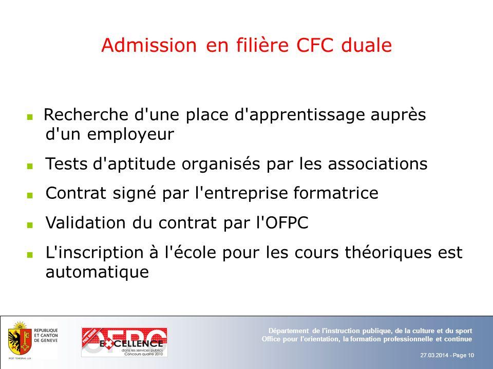 Admission en filière CFC duale
