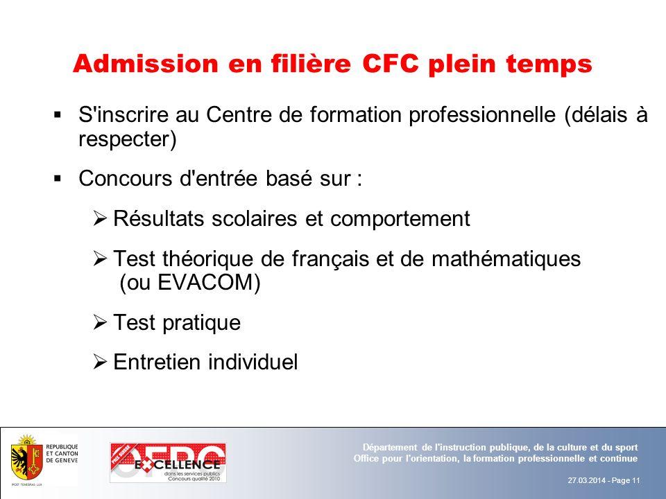 Admission en filière CFC plein temps