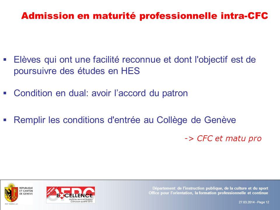 Admission en maturité professionnelle intra-CFC