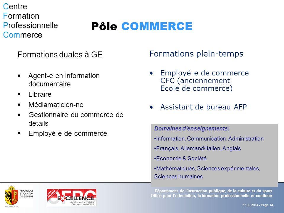 Pôle COMMERCE Centre Formation Professionnelle Commerce