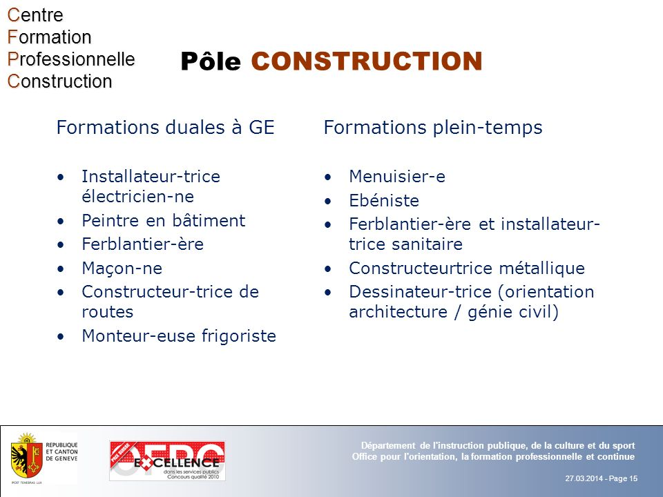Pôle CONSTRUCTION Centre Formation Professionnelle Construction