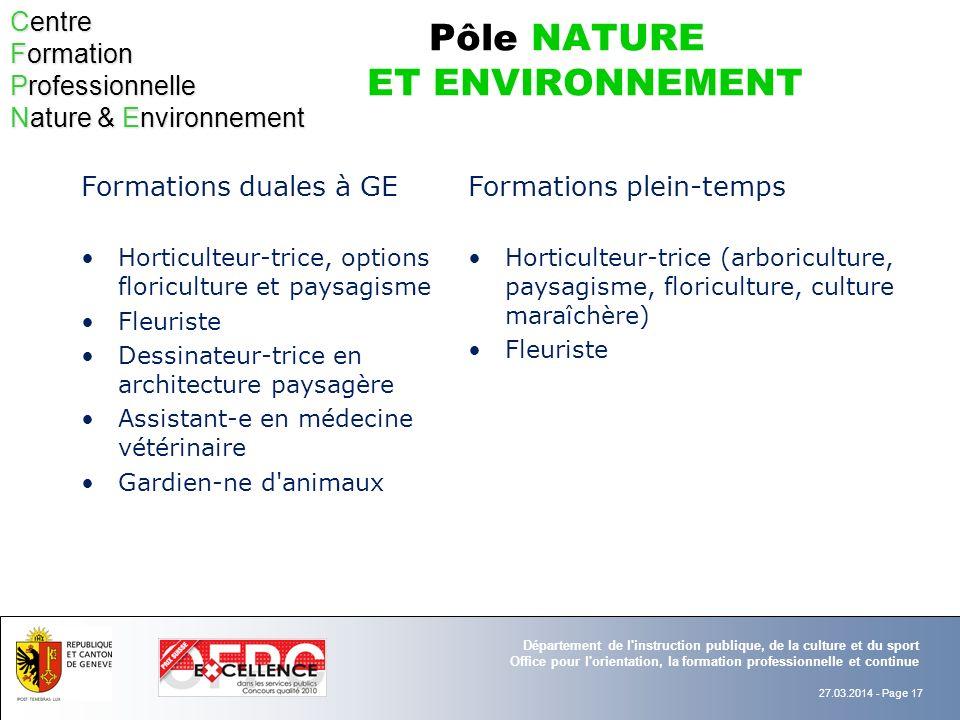 Pôle NATURE ET ENVIRONNEMENT