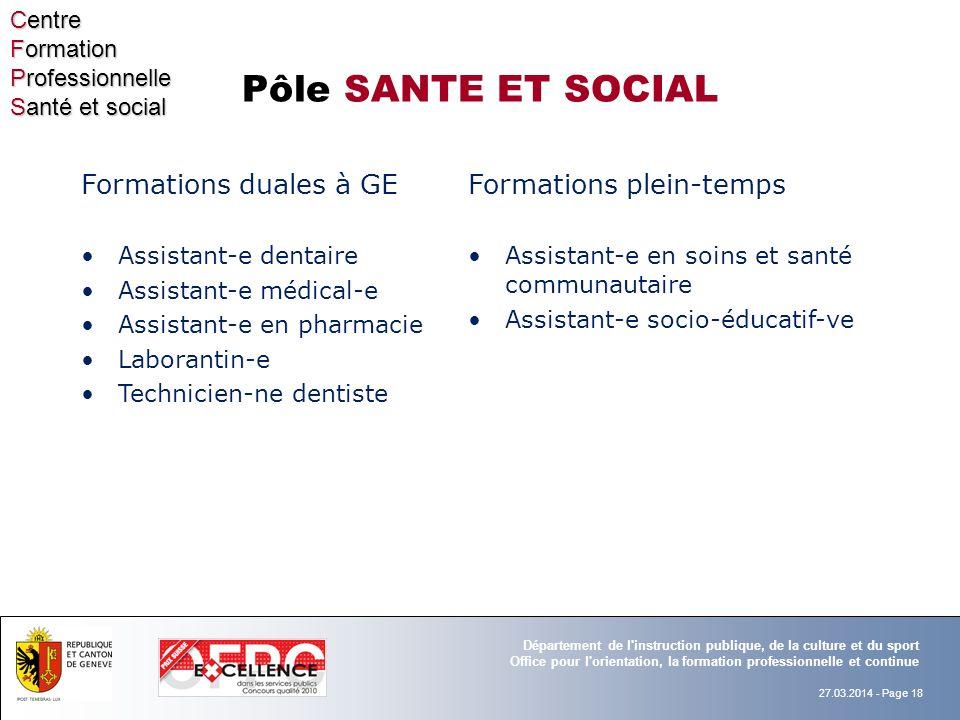 Pôle SANTE ET SOCIAL Formations plein-temps Formations duales à GE