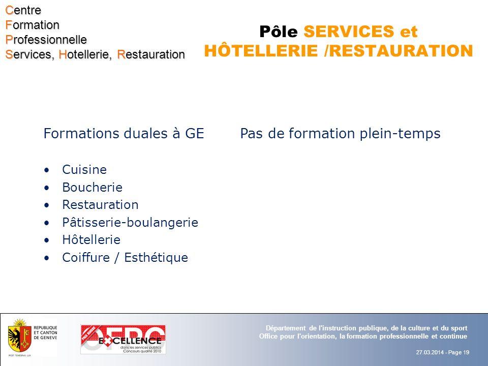 Pôle SERVICES et HÔTELLERIE /RESTAURATION