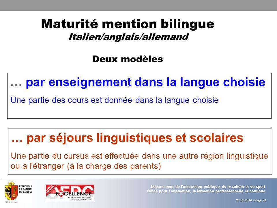 Maturité mention bilingue Italien/anglais/allemand Deux modèles
