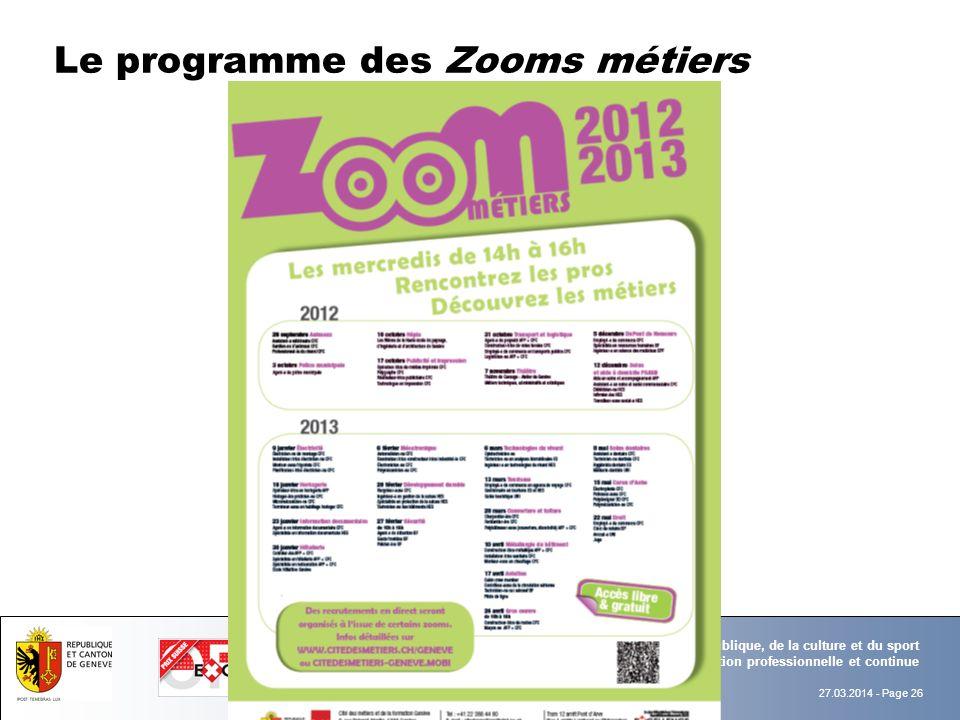 Le programme des Zooms métiers